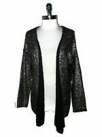 NEW ALBERTO MAKALI Size L Sweater Cardigan Black Gold Shimmery Long Sleeve