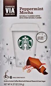 Starbuck's VIA Ready Brew Peppermint Mocha Arabica Coffee 6 Singles (ONE BOX)