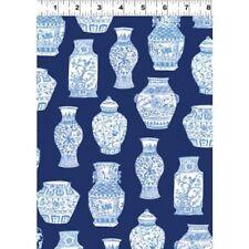 "Blue & White Porcelain Vases on Navy B/G-Clothworks-26"" x 43"" Remnant"