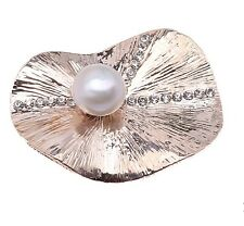 Sale Fashion Lotus Leaf Shape With 11mm White Freshwater Pearl Brooch