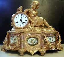 BRONZE CLOCK W/ YOUNG CHILD W/ BUTTERFLY AND PAINTING ON MARBLE (16044)