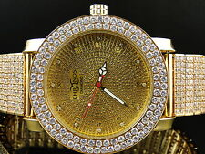 Mens Khronos yellow finish Simulated Diamond 2 row custom watch band bezel