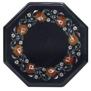 "12"" Marble side Table Top semi precious stones inlay handicraft work"