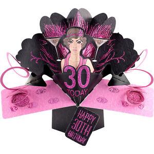 """30. Geburtstag Pop-Up Edle Grußkarte Aufschrift """"Happy Birthday"""" Gr. 17x23cm"""
