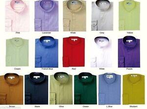 Mens' mandarin collar ( banded collar) dress shirt  Fotino Landi/TDC SG01