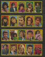 Complete Set of 20 Vlinder Movie Music Star Vintage 1970s Matchbox Label E Serie