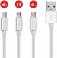 3PACK 6Ft Micro USB Charging Cable Data Sync Charger Cord for Android Samsung LG