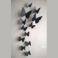 3D Wall Stickers Black 12Pcs Butterfly Pvc Art Decal Home DIY Decoration Paper