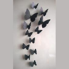 12 Stück 3D Schmetterlinge Wandtattoo Wanddeko Wandtatoo Wandaufkleber-Schwarz