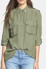 Equipment Femme Major Safari Green Military Silk Blouse Size S NWT
