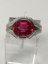 Estate 10K White Gold Created Ruby Solitaire Ring Vintage Size 5.25