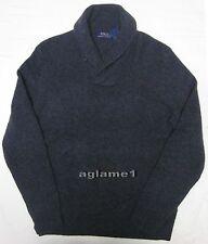 NWT Polo Ralph Lauren cashmere wool shawl sweater  Dark Gray XL Italian Yarn