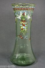 Große Glas Vase Emailmalerei Böhmen/Bayerischer Wald wohl Fritz Heckert um 1900