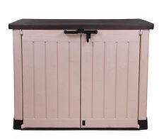 Ondis24 Keter Gerätebox Max Aufbewahrungsbox Mülltonnenbox Gartenbox beige braun