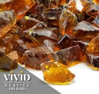 "VIVID COPPER AMBER 1/2"" - 3/4"" Large Fireplace Fire Pit Fireglass Glass Crystals"