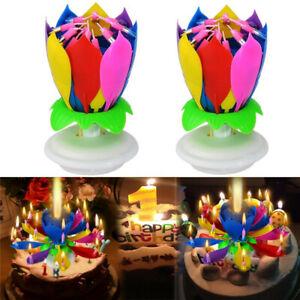 Bougie d'Anniversaire birthday Magique Fleur Lotus Musicale Tournante - NEUVE
