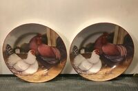 2 CHICKEN SCRATCH BY NOBLE EXCELLENCE STONEWARE PLATES 8 1/4''