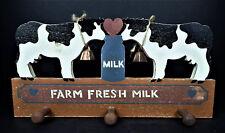 Farm Fresh Milk Wood Peg Mug Rack Hangers Vtg 1987 Holstein Cow Country Farm