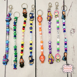 Character personalised keyring or bag zip clip Minnie Mouse & more