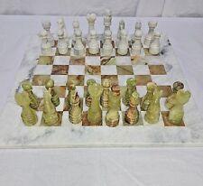 """Chess Set 15"""" Cinder White/GREEN & Brown Flecks Handmade Onyx/Marble Velvet Box"""