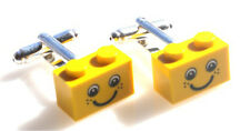 LEGO Plate Cufflinks Yellow SILVER PLATED - FREE POSTAGE + FREE ORGANZA BAG