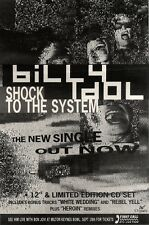 """12/6/93PGN17 BILLY IDOL : SHOCK TO THE SYSTEM SINGLE ADVERT 10X7"""""""