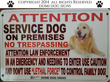 "Metal Attention Service Dog Sign For FENCE ,Beware Of Dog 8""x12"""
