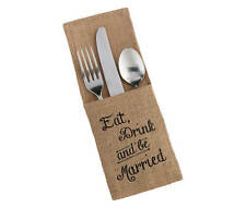 Wedding Burlap Silverware Holder, Set of 4
