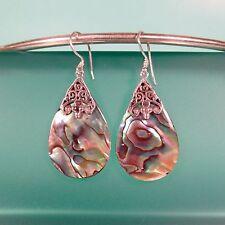 """1 1/4"""" Teardrop Abalone Paua Shell  925 Solid Sterling Silver Dangle Earrings"""