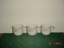 "3-PC LENOX CHINASTONE ""GRAY BRUSHSTROKES"" COFFEE CUPS/USA/WHT-GRY/CLEARANCE!"