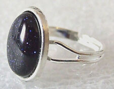 Genuine Blue Glittery Goldstone Gemstone Adjustable Ring Size M-P in Gift Box