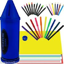 Crayon Bank Includes 40 Piece Art Set Markers Coin Change Kids Gift 2 in 1 Kit