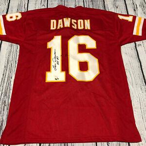 Len Dawson HOF Autographed Kansas City Chiefs Custom Football Red Jersey JSA