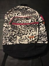 Ill Parcel Girls Back Pack Black White Pink Trim Graffiti Design Street Art