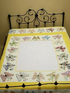Vintage Quilt Hand Quilted Antique 1940s Applique Butterfly Embroidered Cutter