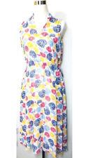 Anne Klein Sleeveless Drawstring MidI Dress Sz 4  White Blue Yellow Pockets NWT
