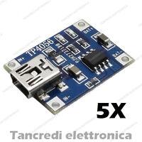 5X Modulo caricabatteria lipo TP4056 5V 1A mini USB li-ion litio lithium