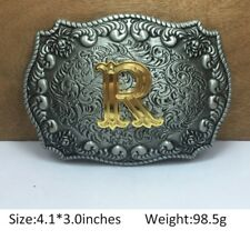 Vintage Mens Western Cowboy Texas Rodeo Initial R Steel Belt Buckle Jewelry