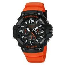 Casio Men's Watch Heavy Duty Black Dial Chronograph Orange Strap MCW100H-4A