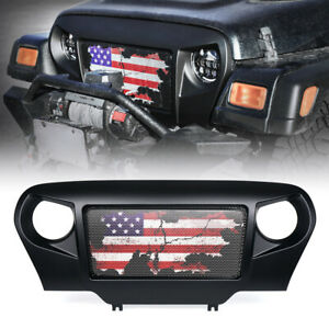 Matte Black Angry Spartan Mesh Grille American Flag for Jeep Wrangler TJ '97-06