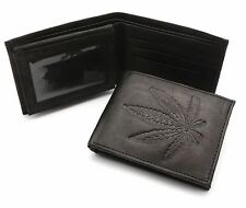 Bifold Genuine Leather Black Wallet with Herb Leaf Embossed Design
