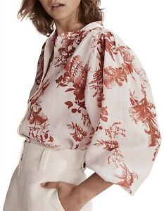 Country Road Print Button Front Blouse Size 16, XL, Antique White BNWT RRP $139