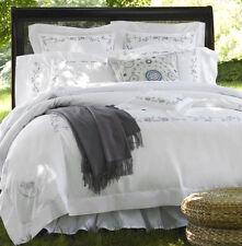 Sferra JANELLA Queen Duvet +2 Boudoir Shams White/Wisteria Embroidery Cotton New