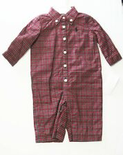 Ralph Lauren Baby Boys Poplin Cotton Plaid Coverall Red Multi Sz 3M - NWT