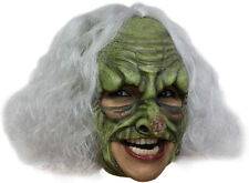 GREEN WITCH DELUXE CHINLESS HEAD MASK WITH CHINSTRAP LATEX HALLOWEEN MASK