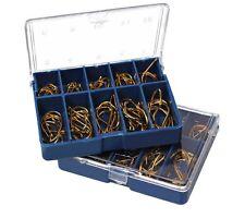 100 Eyed Bronze Fish Hooks Fishing Tackle Box 10 Sizes 3-12 Freshwater UK STOCK