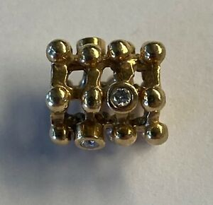PANDORA 14kt Gold Diamond Abstract Matrix Charm Bead