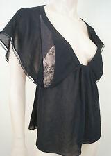VANESSA BRUNO Black Sheer Plunge V Neck Lace Insert Cap Sleeve Top FR40 UK12