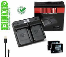 LOOKit Dual Lader + 2x LOOKit BLC12 für PPanasonic DMC GX8M, Panasonic DMC G6M