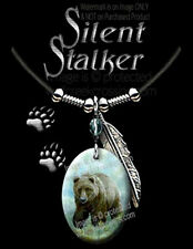 SILENT STALKER GRIZZLY NECKLACE - BEARS WESTERN WILDLIFE ART BEAR FREE SHIP Lth*